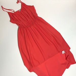 Orange high low flowy dress